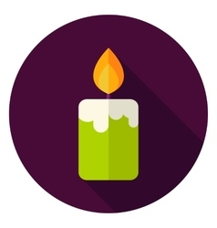 Candle fire circle icon vector