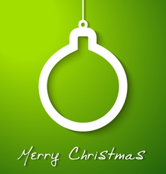 Christmas white ball applique on green background vector image