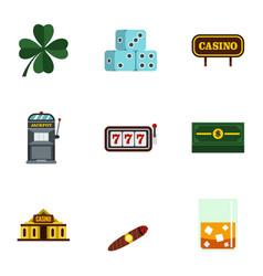 gambling icons set flat style vector image vector image