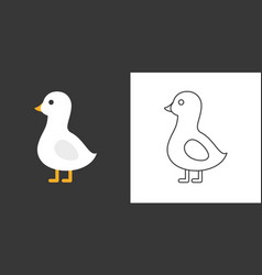 goose icon flat and outline vector image vector image