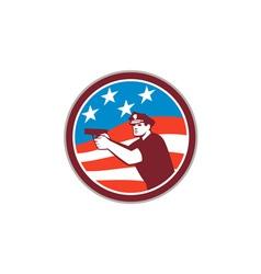 Policeman With Gun American Flag Circle Retro vector image vector image