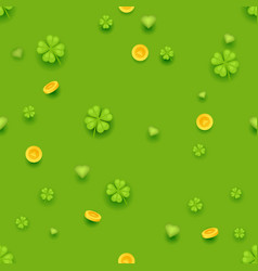 seamless pattern saint patrick day gold coins vector image vector image