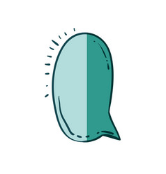 Aquamarine hand drawn of speech in ovoid shape vector