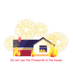 Burning building with fireworks isolated on white vector