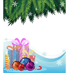 Christmas presents and decorations vector image vector image