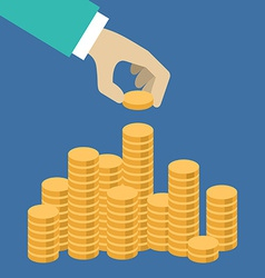 Flat design Hand putting a coin in the pile vector image