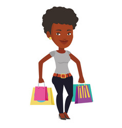 Happy woman with shopping bags vector