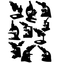 microscope silhouettes vector image