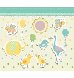 Vintage doodle baby toys for greeting card vector image