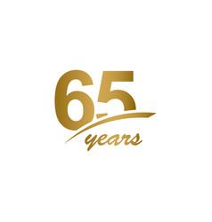 65 years anniversary elegant gold line vector