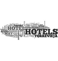 a guide to torrevieja hotels text word cloud vector image