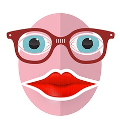 Abstract Funky Face with Big Mouth and Glasses vector image