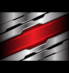 abstract red light banner on silver polygon vector image