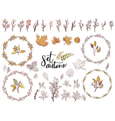 Autumn set of fall themed circle shaped frames vector