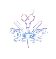 barbershop logo with a ribbon vector image
