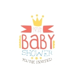 Bashower invitation design template with crown vector