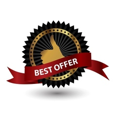 Best Offer label with red ribbon vector
