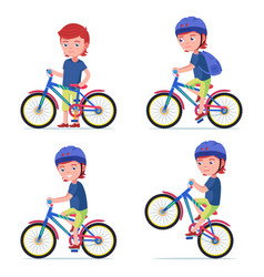 Boy riding a bike kid rides a bicycle vector