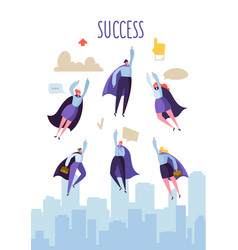Business leadership concept flat superhero vector