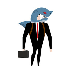 Businessman in suit shark allegory business vector