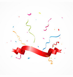 Celebration banner with ribbon and confetti vector