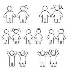 children line icon set vector image