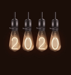 christmas banner with light bulbs and numbers 2020 vector image