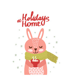 christmas card with cute rabbit vector image
