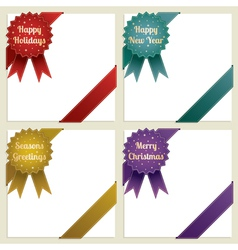 Christmas corner ribbons vector
