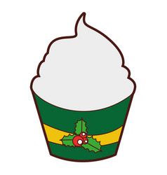 Christmas cupcake celebration icon vector
