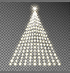 christmas tree of lights string glowing xm vector image