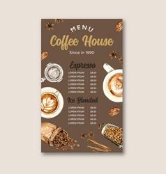 Coffee cafe menu american cappuccino espresso vector