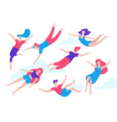 collection people flying dreaming concept vector image