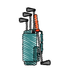 color crayon stripe cartoon bag with golf clubs vector image