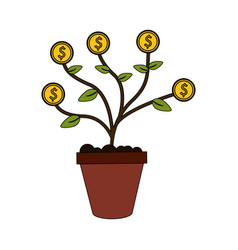 color image cartoon potted plant with coins vector image