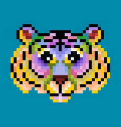 colorful cute pixel tiger isolated vector image