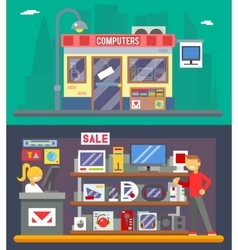 Computer Shop Interior Seller Goods Offer Sale vector