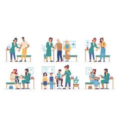 coronavirus vaccine injection people vaccination vector image