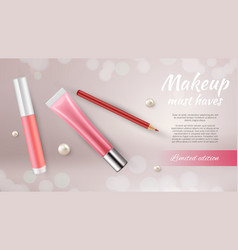 Cosmetic ads banner realistic make up pencil vector