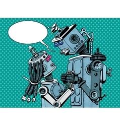 Couple robots man woman love vector