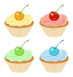 Cupcake with cherry vector image