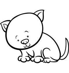 Cute kitten cartoon coloring page vector