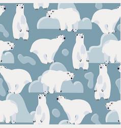 cute polar bear seamless pattern vector image