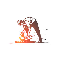 cutting tile worker repairing construction vector image