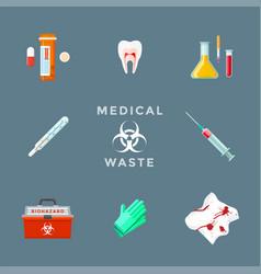 Dangerous medical waste management set vector