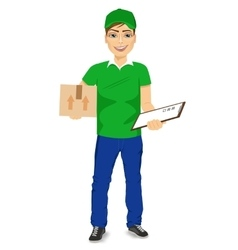 delivery man carrying mail package vector image vector image