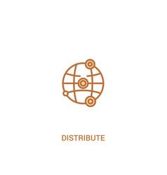 Distribute concept 2 colored icon simple line vector