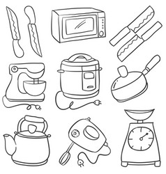Doodle of kitchen set style cartoon vector