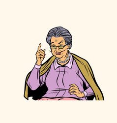 Elderly woman pointing finger up isolated on vector