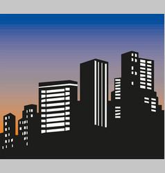 Evening cityscape sunset landscape vector
